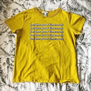 Forever 21 Let The Good Times Roll Yellow Tee
